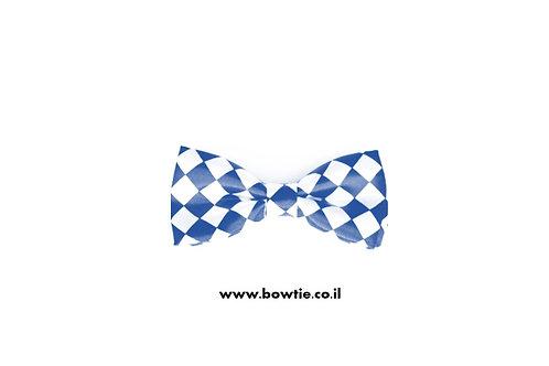 עניבת פפיון לבנה מעוינים כחולים