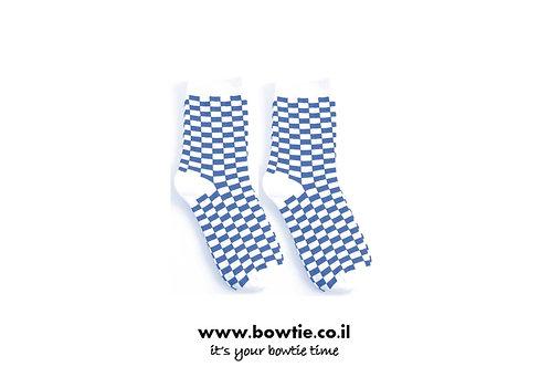גרביים משבצות כחול לבן