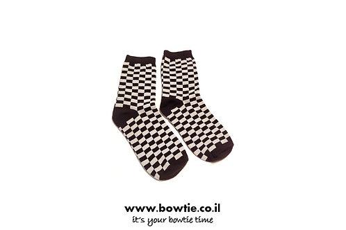גרביים משבצות שחור אפור