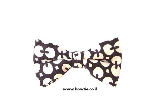 עניבת פפיון שחור לבן רטרו