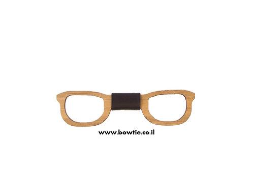 עניבת פפיון עץ משקפיים מלבניים