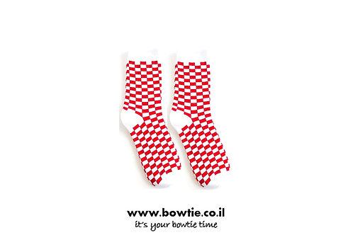 גרביים משבצות אדום לבן