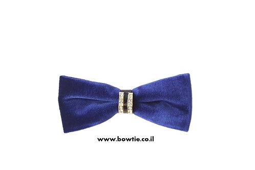 עניבת פפיון קטיפה כחולה חבק זהב יהלומים