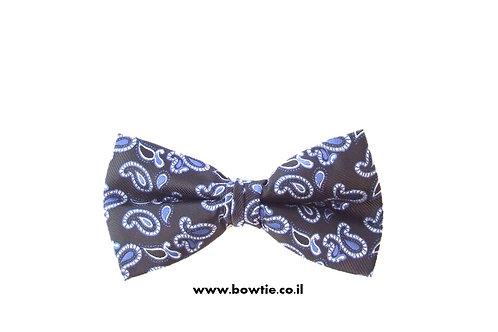 עניבת פפיון שחורה טיפות כחולות