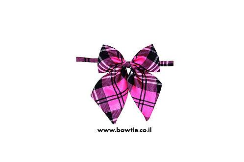 עניבת פפיון פרפר ורוד שחור סקוטי