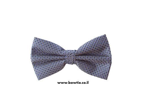 עניבת פפיון אפורה משובצת שחור כחול