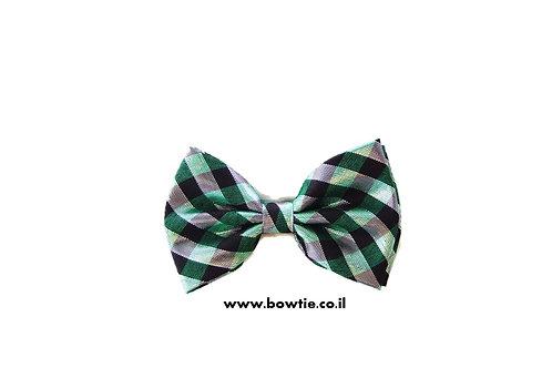 עניבת פפיון שחור אפור ירוק פסים