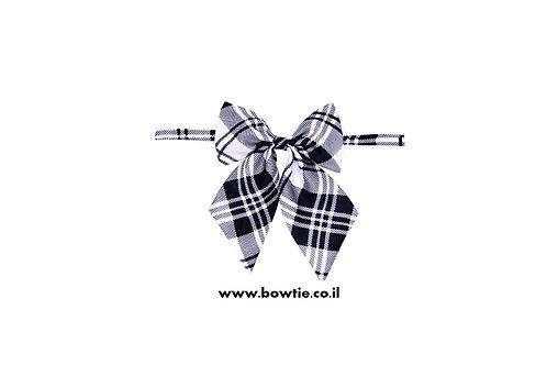 עניבת פפיון פרפר שחור לבן סקוטי