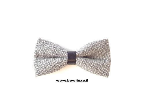 עניבת פפיון אפורה חבק שחור