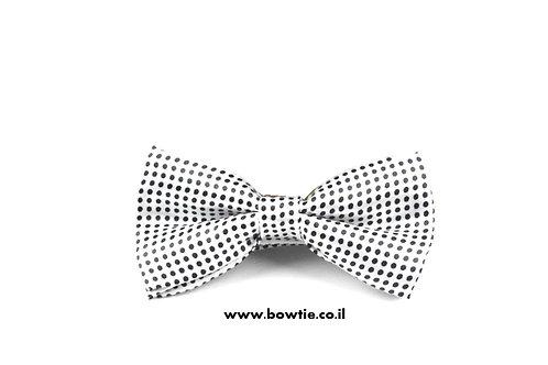 עניבת פפיון לבנה נקודות שחורות