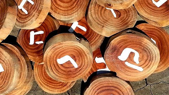 אותיות על טבעות עץ