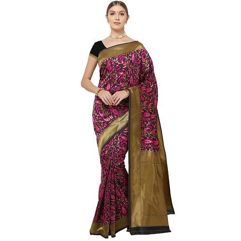 Black Art Silk Saree with Matching Blouse.