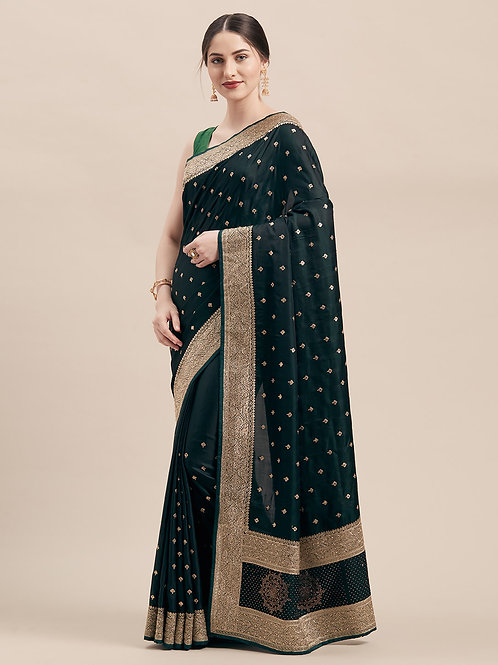 Green Satin Silk Saree with Matching Blouse.