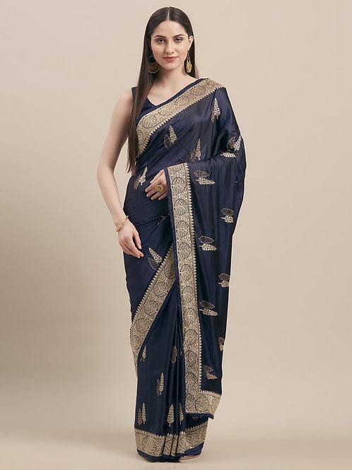 Blue Satin Silk Saree with Matching Blouse.