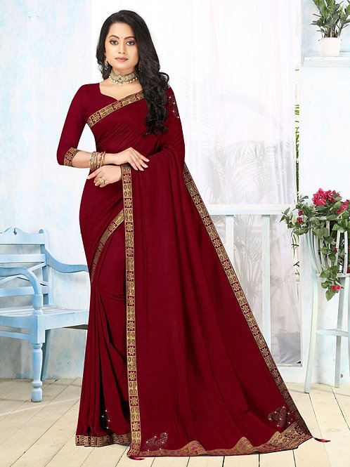 Latest New Maroon Color Soft Silk Saree