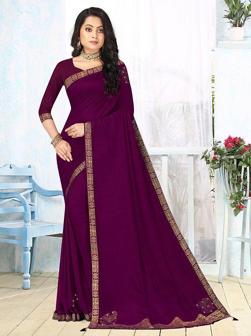 Latest New Purple Color Soft Silk Saree