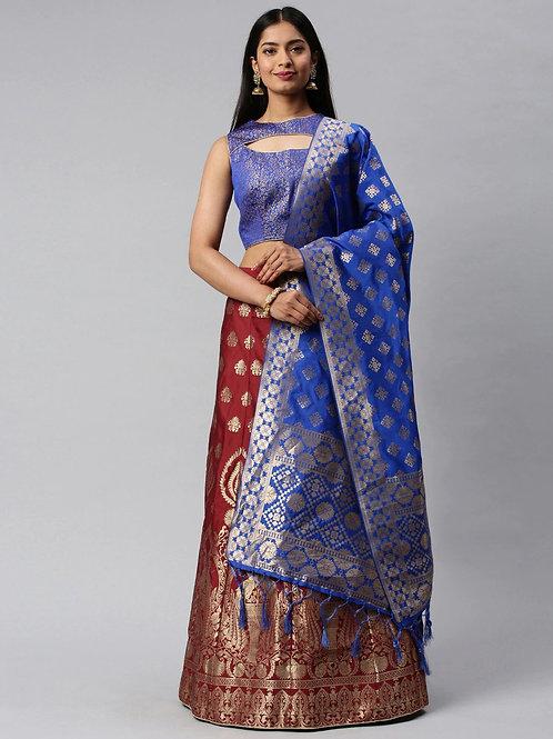 Blue and Red Color Banarasi Silk Wedding Lehenga Choli