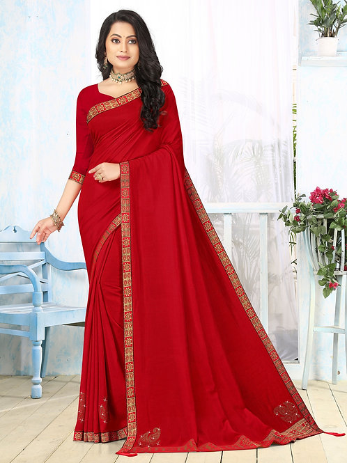 Latest New Red Color Soft Silk Saree