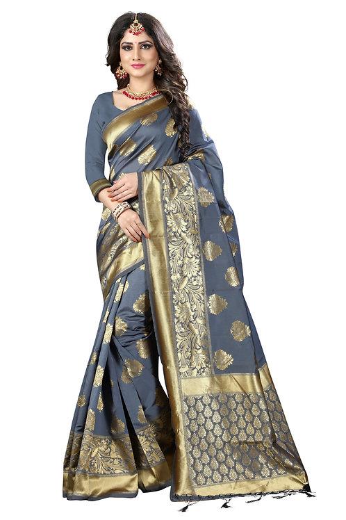 Grey Banarasi Silk Saree with Matching Blouse.