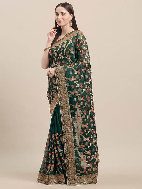 Green Poly Georgette Saree with Matching Blouse.