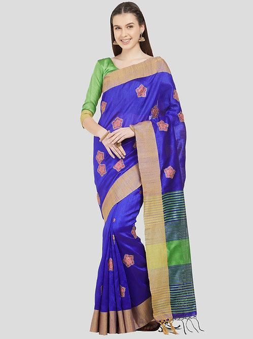 Blue Colored Cotton Silk Saree.
