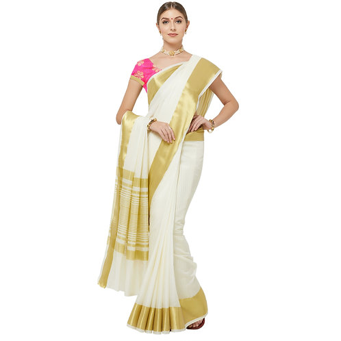 Cream Silk Saree with Matching Blouse.