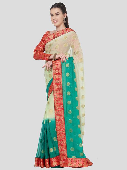 Teal Colored Chiffon Silk Saree.
