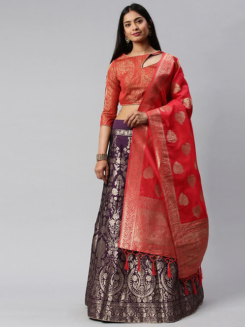 Levender And Red Color Banarasi Silk Wedding Lehe