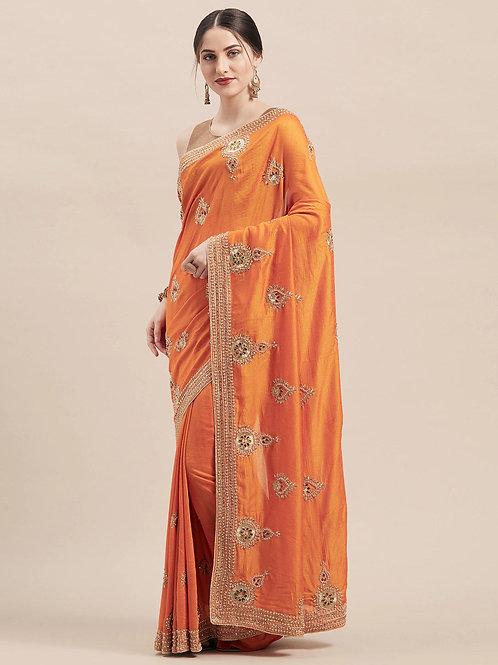 Orange Vichitra Silk Saree with Matching Blouse.