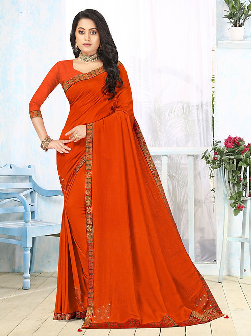 Latest New Orange Color Soft Silk Saree