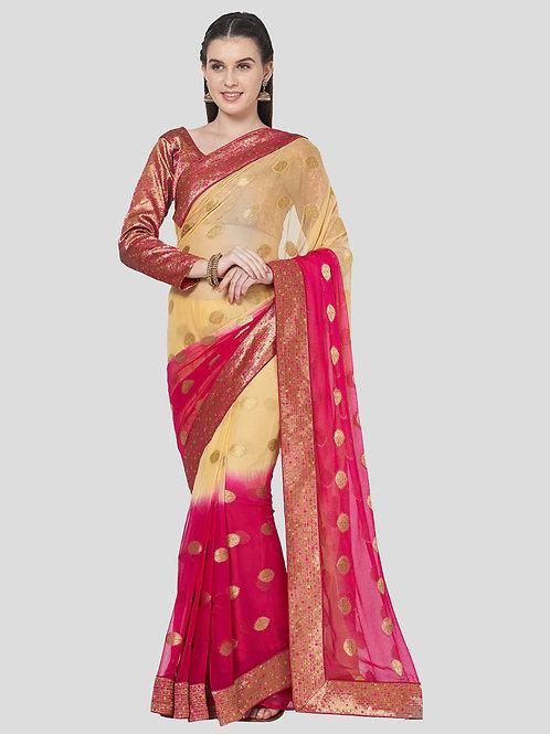 Cream Colored Chiffon Silk Saree.