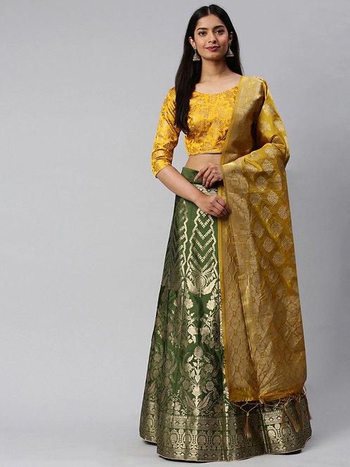 Green and Yellow Color Banarasi Silk Wedding Lehenga Choli