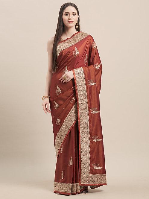 Brown Satin Silk Saree with Matching Blouse.
