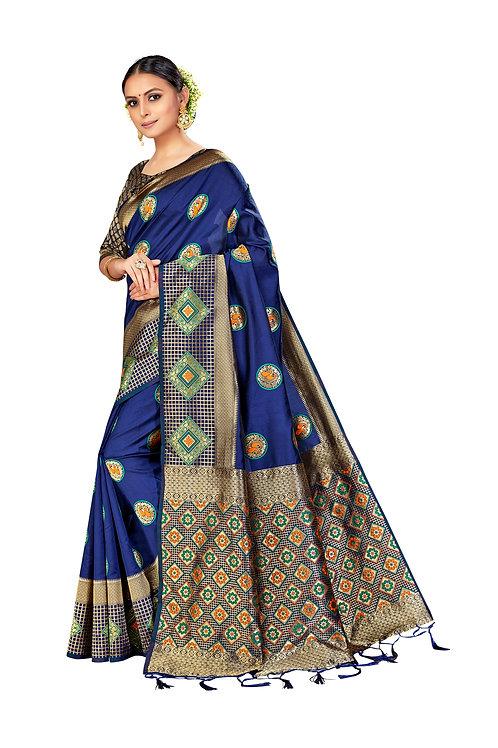 Blue Banarasi Art Silk Saree with Matching Blouse.