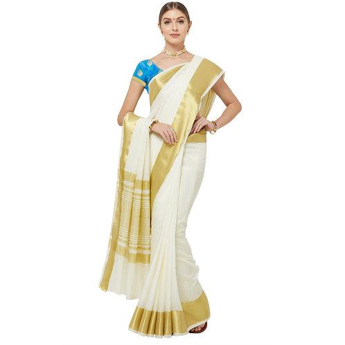 copy of Cream Silk Saree with Matching Blouse.