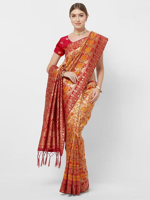 Red Banarasi Art Silk Saree with Matching Blouse.