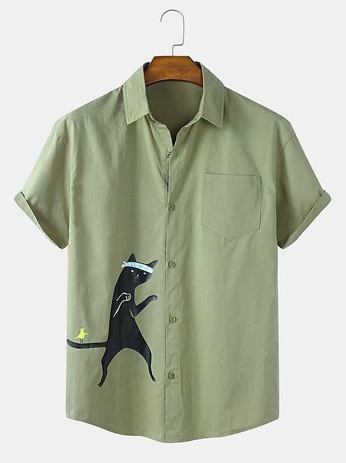 Cotton Olive Green Cat Printed Lapel Neckline Cotton Shirt