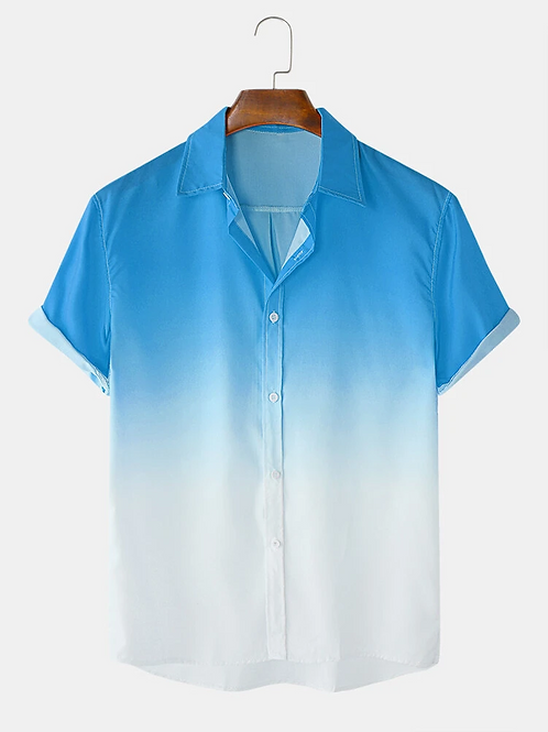 Blue and White Color Fold Down Collar Polyester Shirt For Men