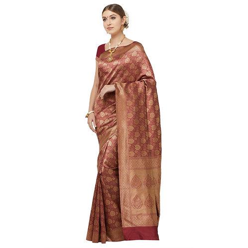 Rust Art Silk Saree with Matching Blouse