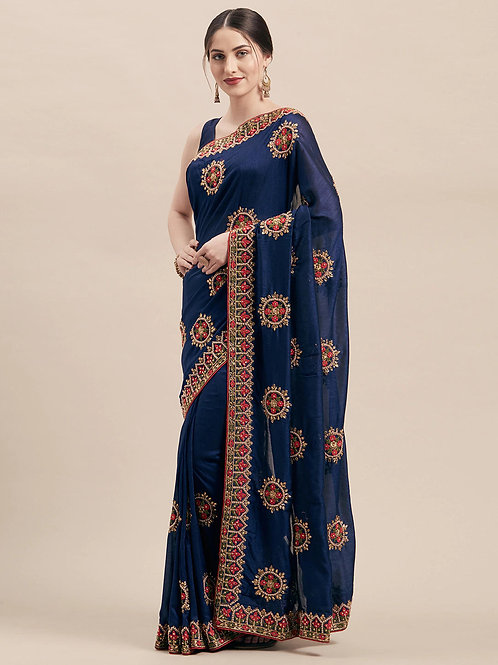 Navy Blue Vichitra Silk Saree with Matching Blouse.