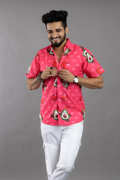 Avocado Cartoon Printed Pink Cotton Shirt For Men In Onlion