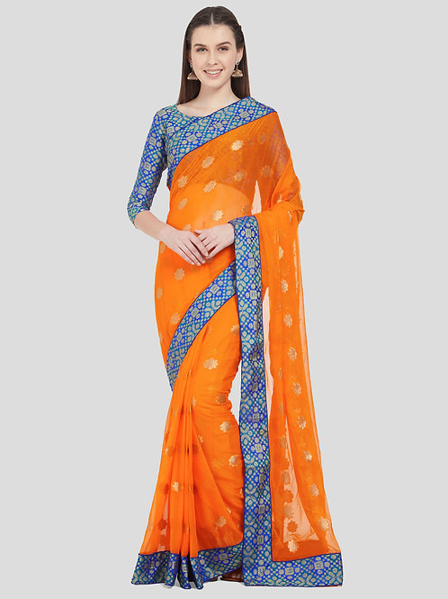 Light Orange Colored Chiffon Silk Saree.