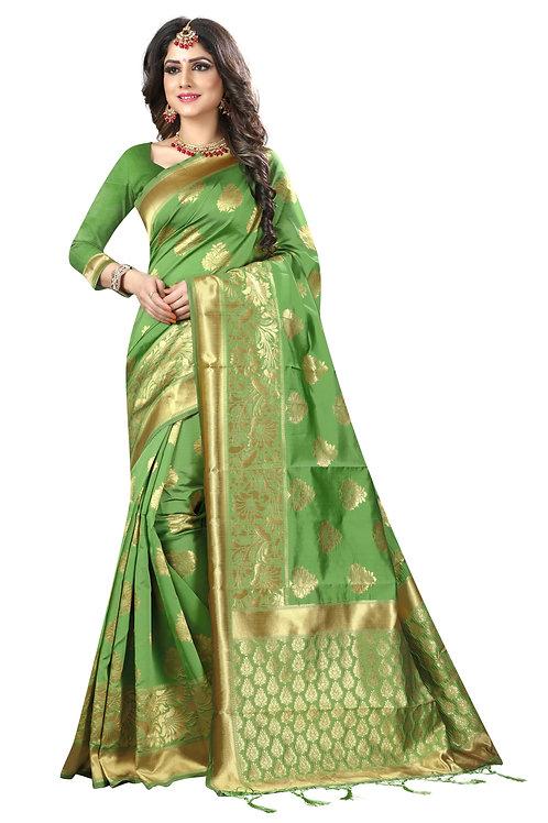 Green Banarasi Silk Saree with Matching Blouse.