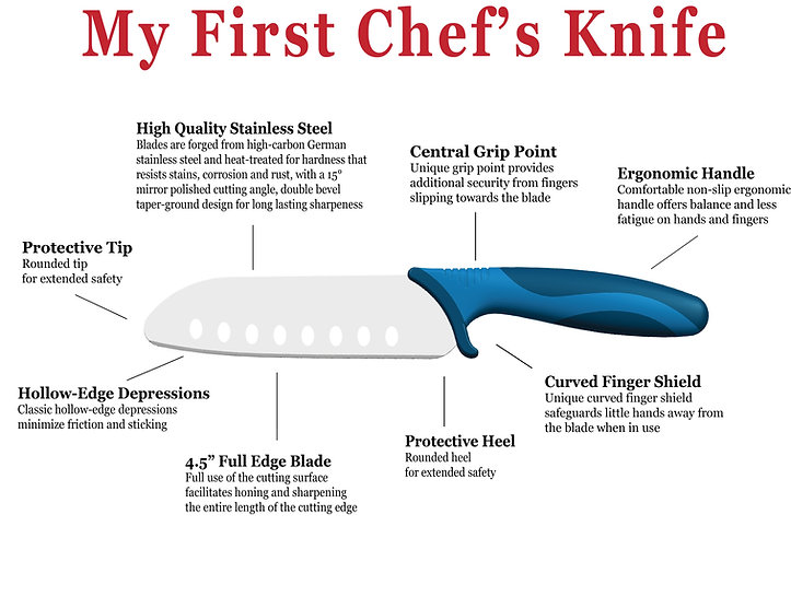 My First Chef's Knife detail points Blue