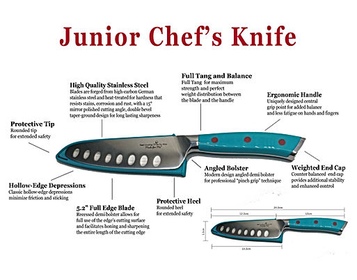 Junior Chef Knife detail points TEAL-01.