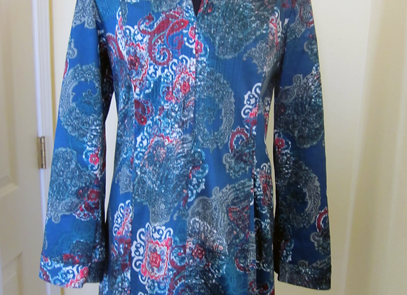 blue pleated tunic