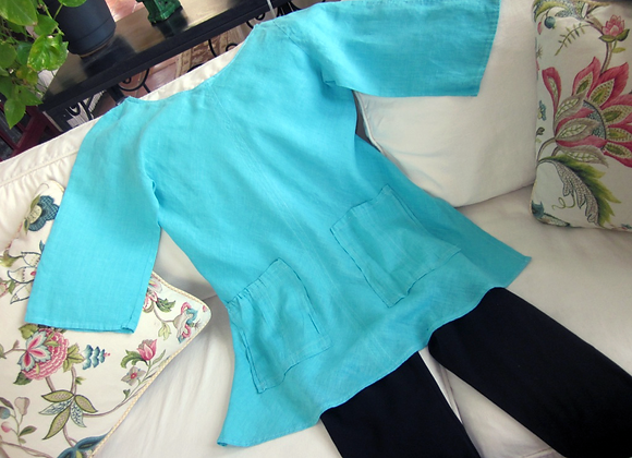 Turquoise linen tunic