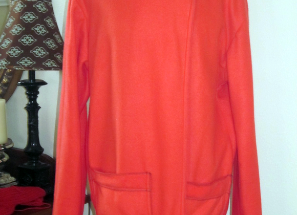 red-orange fleece pullover