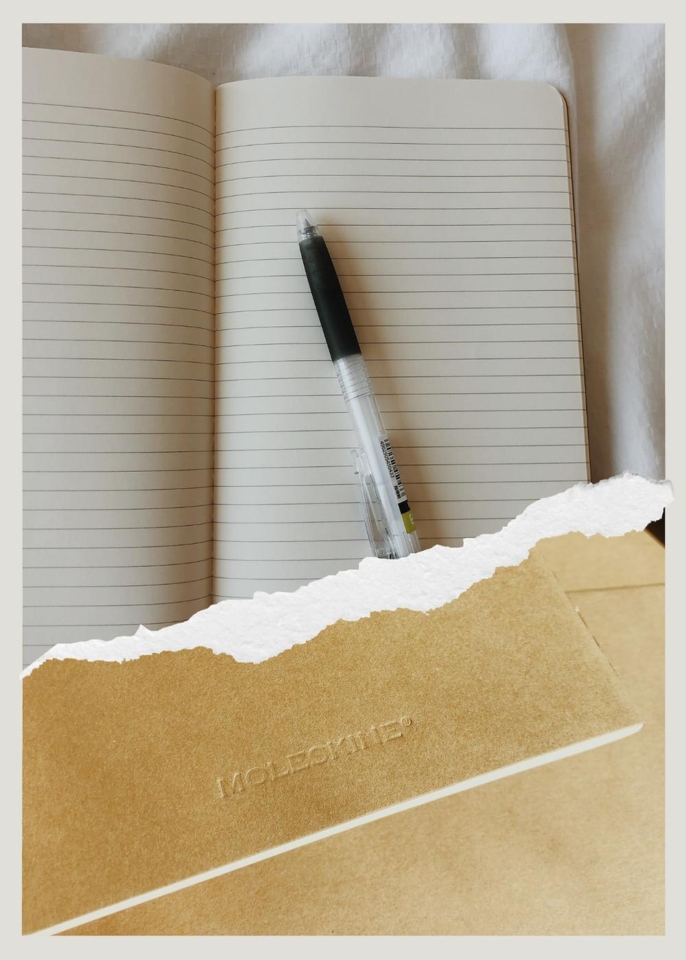 Moleskin journal, Pilot Juice 0.38 Pen, Journaling, Daily Journaling, Gratitude, Writing, Lined Paper, Kraft Brown Journal