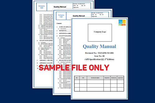 Quality Manual  Sample (API Spec Q2)